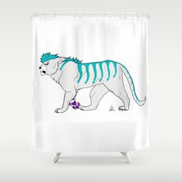 Teal Tiger Shower Curtain