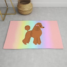 Red Poodle with Pastel Rainbow Rug