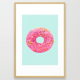 Giant Donut on Mint Framed Art Print