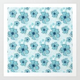 Blue Poppy Bash Art Print