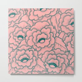 Flowers and leaves pattern - pink and green Metal Print