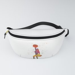 young woman Cheerleader Art Girl Poms Dance in watercolor 09 Fanny Pack