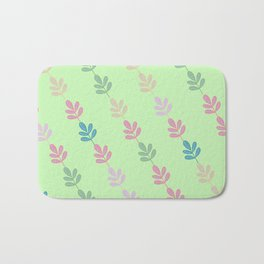 Flowers on Vine - Green Branches Bath Mat