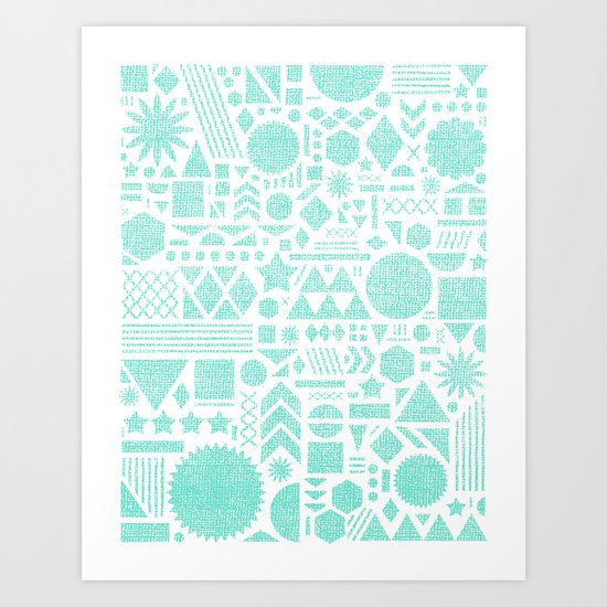 Modern Elements with Turquoise Art Print
