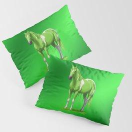 Lime Green Pinto Dripping Wet Paint Horse Pillow Sham