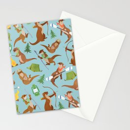 Otter Camping Blue Pattern Stationery Cards