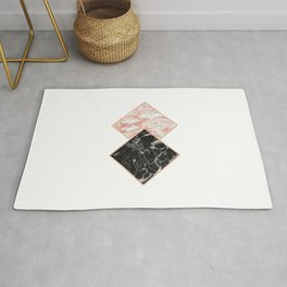 Diamond rose gold marble - copper gilded Rug