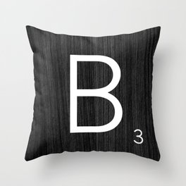 Black wood scrabble B Throw Pillow