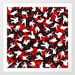Ice Hockey Player Canada Flag Camo Camouflage Pattern Art Print