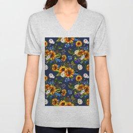 Modern yellow orange blue watercolor sunflower floral pattern Unisex V-Neck