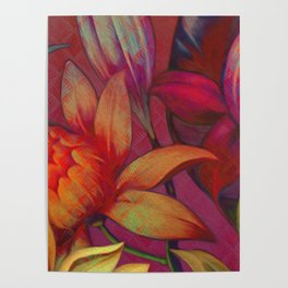 """""""Retro Giant Floral Pattern"""" Poster"""