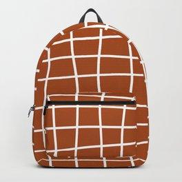 Hand Drawn Grid (white/burnt orange) Backpack