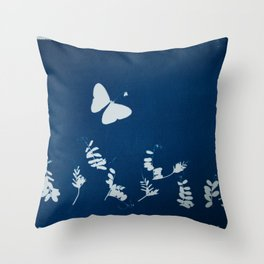 Cyano-butterfly Throw Pillow