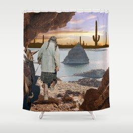 Desert Emergence collage Shower Curtain