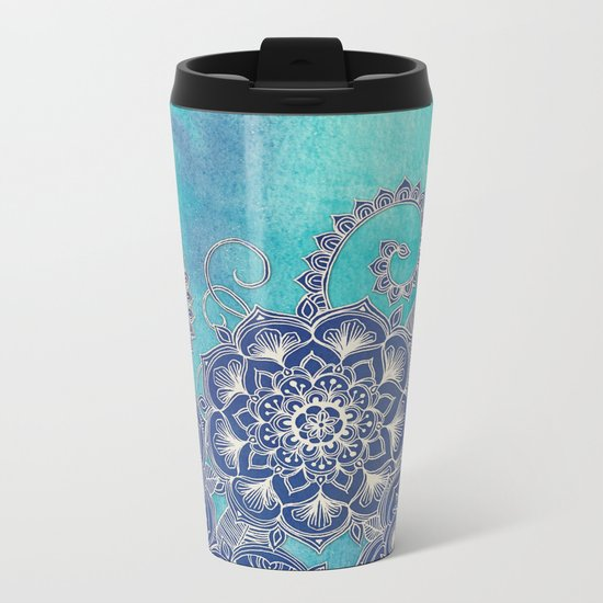 Mermaid's Garden - Navy & Teal Floral on Watercolor Metal Travel Mug