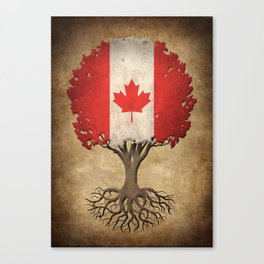 Vintage Tree of Life with Flag of Canada Canvas Print