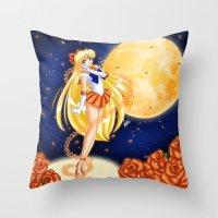 sailor venus Throw Pillows featuring Sailor Venus by HaruShadows