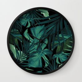 Tropical Jungle Night Leaves Pattern #1 #tropical #decor #art #society6 Wall Clock