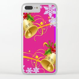 COLORFUL HAPPY HOLIDAY BELLS & SNOWFLAKES ART Clear iPhone Case