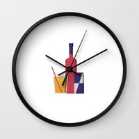 vodka Wall Clocks featuring Vodka Red Bull by Andrea Manzati