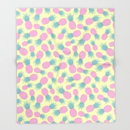 Pink pastel pineapple Throw Blanket