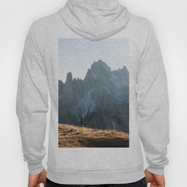 Dolomites mountain range in italy with hiker sunset - Landscape Photography Hoody