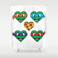 ninja turtle Shower Curtains featuring Ninja Turtle Hearts by Sam Skyler