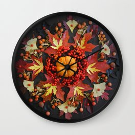 Nature Mandala: October Wall Clock