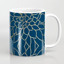 Floral Prints, Line Art, Navy Blue and Gold, Artist Prints Coffee Mug