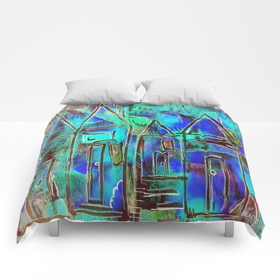 Neon Blue Houses Comforters