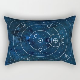 Planets Symbols on Nightsky Rectangular Pillow