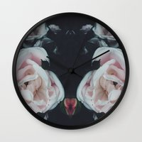 vintage flowers Wall Clocks featuring Vintage Flowers by C O R N E L L