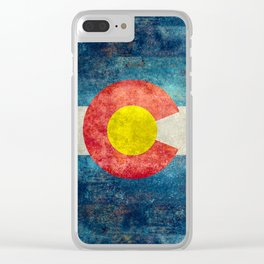 Colorado flag with Grungy Textures Clear iPhone Case