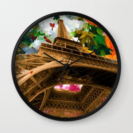 Eiffel Tower On A Bed Of Decorative Flowers Wall Clock