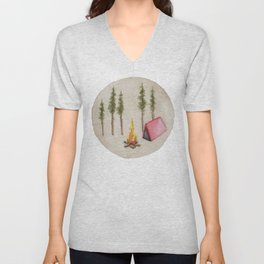 Campfire, Outdoorsy, Camping, Pine Trees, Camp Fire Unisex V-Neck