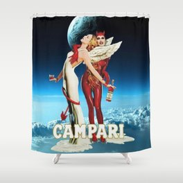 Classic Campari Alcoholic Angel & Devil - Earth, Sun, and Stars Aperitif Advertising Vintage Poster Shower Curtain