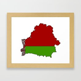 Belarus Map with Belarusian Flag Framed Art Print
