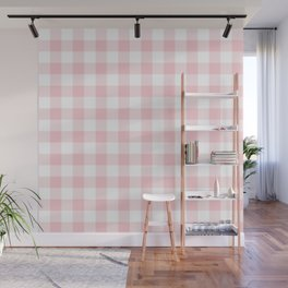 Large Valentine Soft Blush Pink and White Buffalo Check Plaid Wall Mural