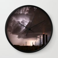 industrial Wall Clocks featuring Industrial Spark by Augustina Trejo