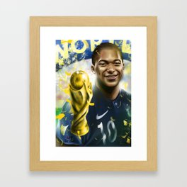 KYLIAN MBAPPÉ PSG football player, world cup champion, best young french football player star portra Framed Art Print