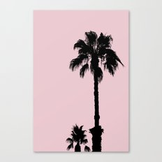 Palm Tree Silhouettes On Pink Canvas Print