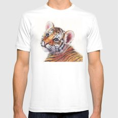 Tiger Cub Watercolor Cute Baby Animals Mens Fitted Tee White MEDIUM