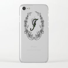 the letter F in a leaves and flowers Clear iPhone Case
