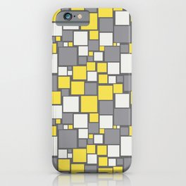 Funky Mosaic Square Pattern Pantone 2021 Color Of The Year Illuminating and Ultimate Gray iPhone Case