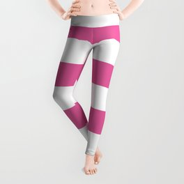 Icing Pink Cupcake and White Wide Cabana Stripes Leggings