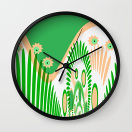 The green graphical design Wall Clock