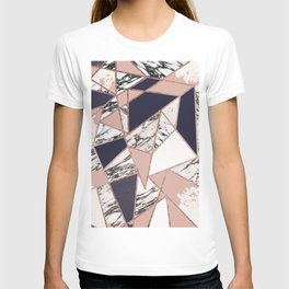 Geometric Navy Blue Peach Marble Rose Gold Triangle T-shirt