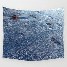 Footprints at the Beach Wall Tapestry