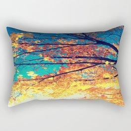 AutuMN Golden Leaves Teal Sky Rectangular Pillow