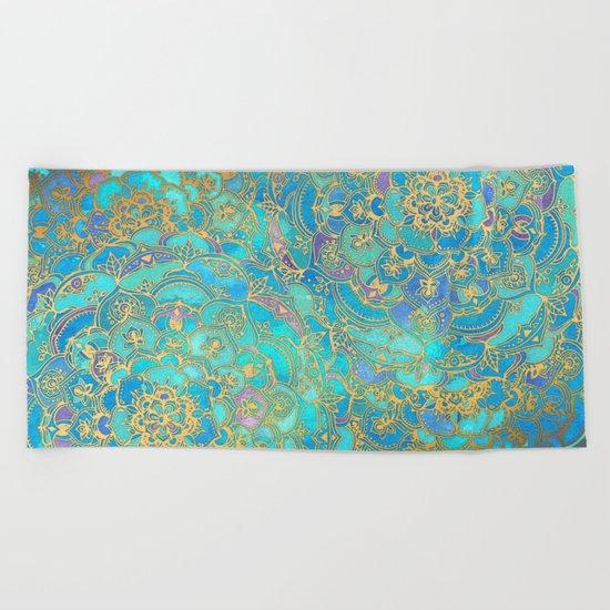 Sapphire & Jade Stained Glass Mandalas Beach Towel